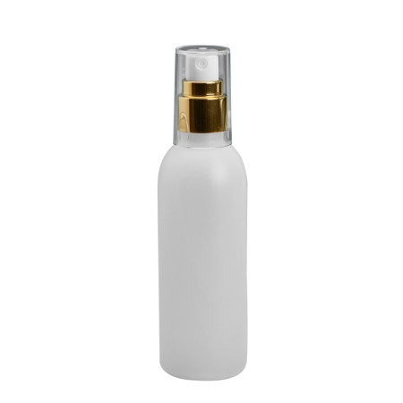 125ml Natural Boston Btl & 20mm Gold/White Cos Mist