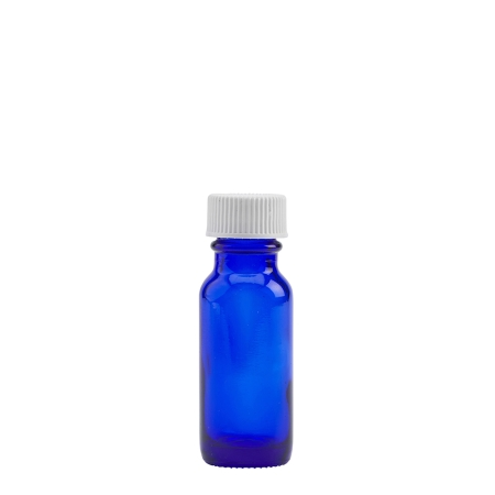 1/2oz Blue Old Style Btl & 18mm White Ribbed Polyring