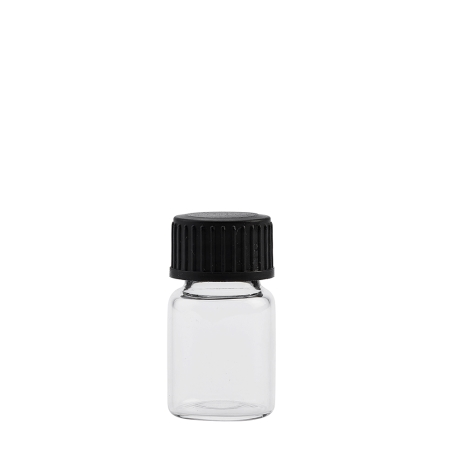 6ml Clear Squat Vial & 18mm Black Foam Wad Cap