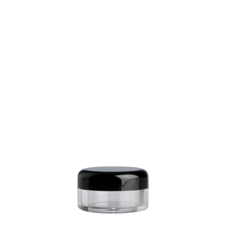5g Clear Plastic Cos Pot & Black Lid