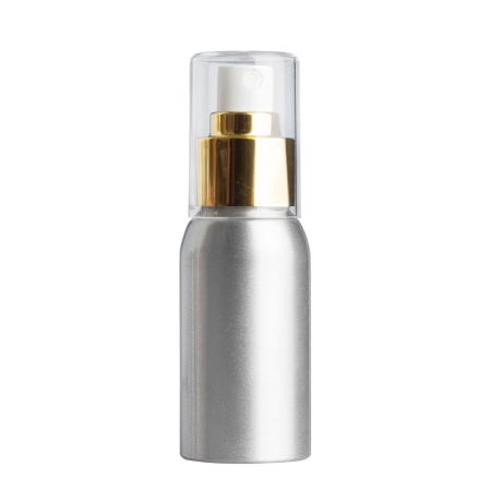 50ml Aluminium Btl & 24mm Gold/White Cos Mist