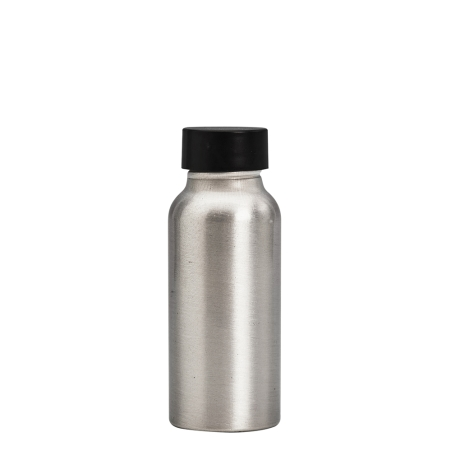 50ml Aluminium Btl & 24mm Black Wad Cap