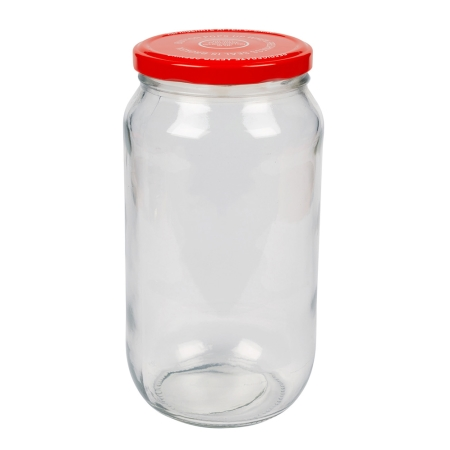 1000ml Food Twist Jar & 82mm Red/White Twist