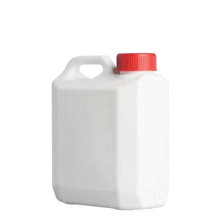 1 Litre White Plastic Jerrycan & 38mm Red Screw