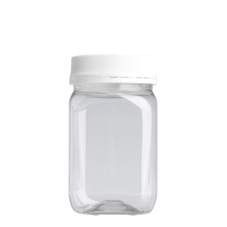 400ml Clear Nexus Square Jar & 63mm White T/T