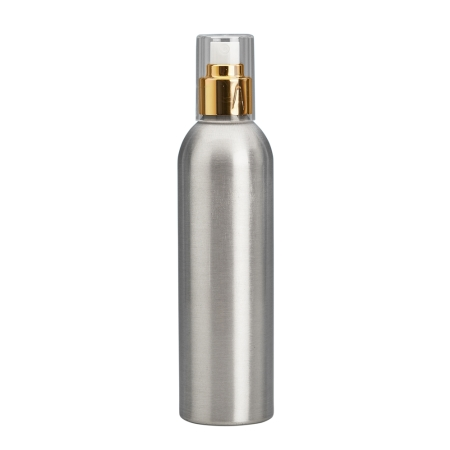 250ml Aluminium Btl & 24mm Gold/White Cos Mist