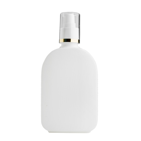 250ml White Flask & 24mm White/Gold Band Cos Lotion