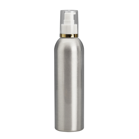 250ml Aluminium Btl & 24mm White/Gold Band Cos Lotion