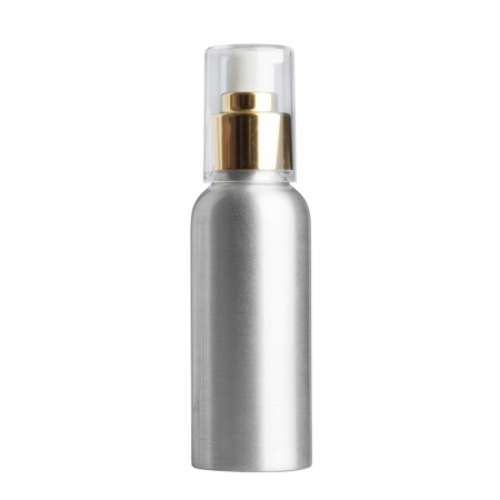 100ml Aluminium Btl & 24mm Gold Cos Lotion