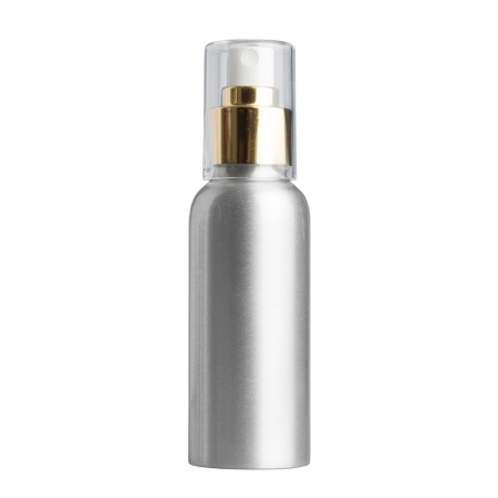 100ml Aluminium Btl & 24mm Gold/White Cos Mist
