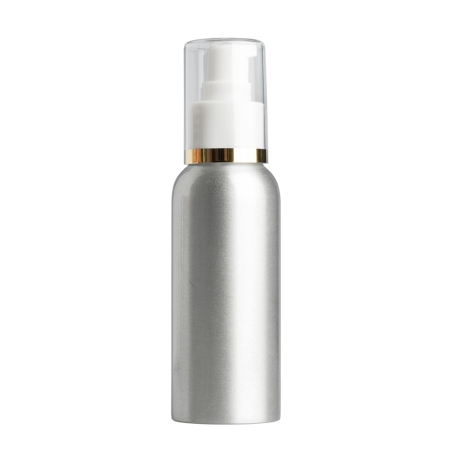 100ml Aluminium Btl & 24mm White/Gold Band Cos Lotion