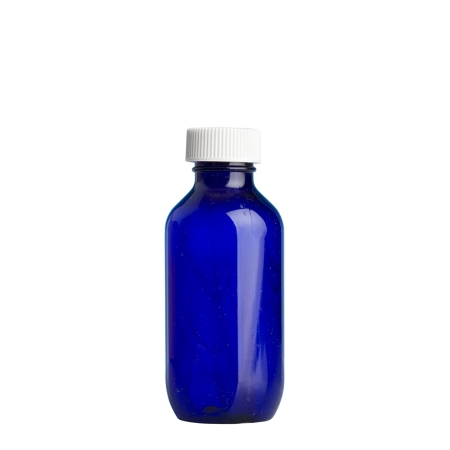 100ml Blue Prem Btl & 24mm White Ribbed Polyring