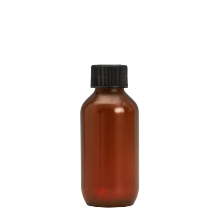 100ml Amber Prem PETG Btl & 24mm Black Coneseal
