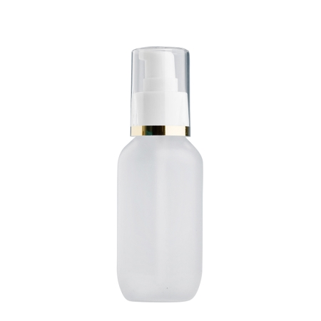 100ml Frosted Prem Btl & 24mm White/Gold Band Cos Lotion
