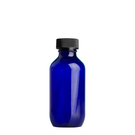 100ml Blue Prem Btl & 24mm Black Ribbed Polyring