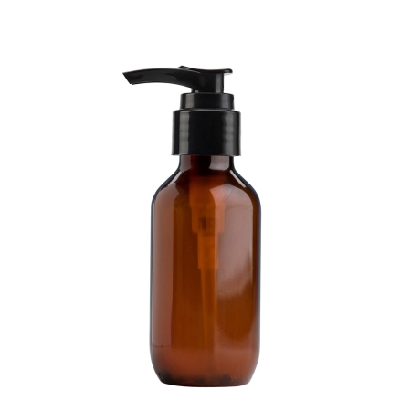 100ml Amber Prem PETG Btl & 24mm Black Smooth Lotion